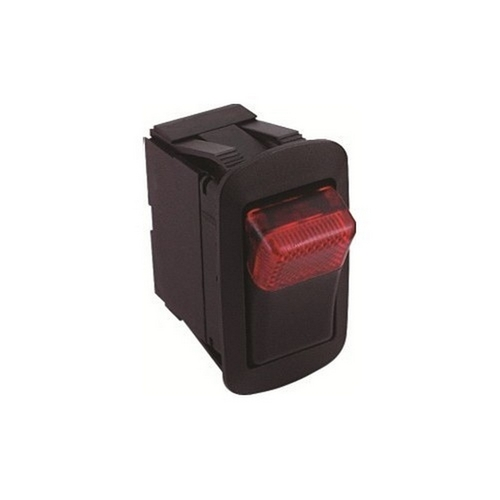 Morris 70176 Red Lighted Rocker Switch On-Off DPST Quick Connect Spade Terminal