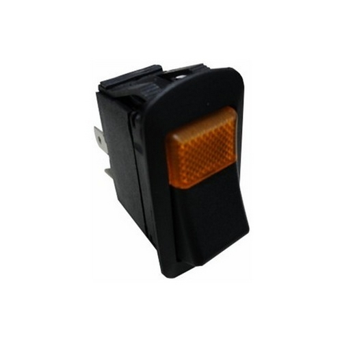 Morris 70177 Amber Lighted Rocker Switch On-Off DPST Quick Connect Spade Terminal