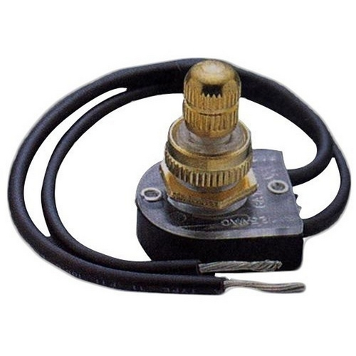 Morris 70220 Rotary Switch SPST Brass Button On-Off with 6