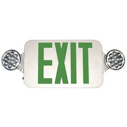 Morris 73052 Round Head LED Combo Exit Emergency Light High Output Green LED White Housing