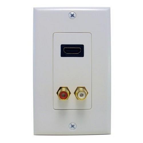 Morris 80450 Combination HDMI Plate & Dual RCA Connector (R&W) Home Enterainment WallPlate
