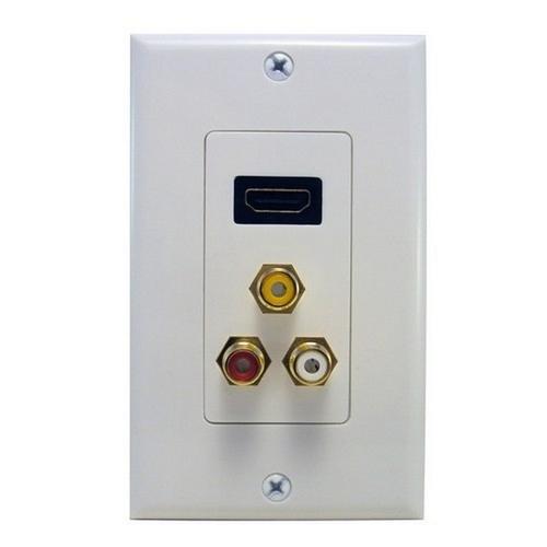 Morris 80452 Combination HDMI Plate & Three RCA Connectors (R,W,Y) Home Enterainment WallPlate