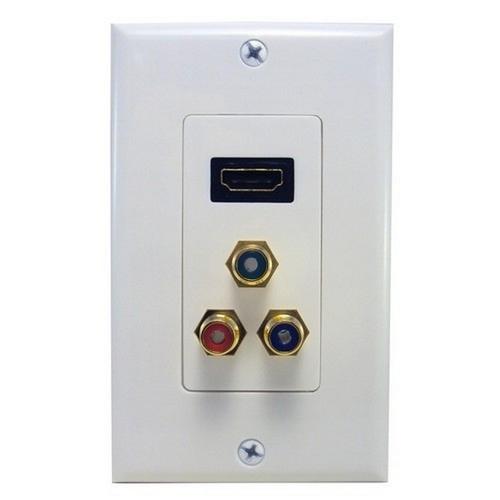Morris 80454 Combination HDMI Plate & Three RCA Connectors (R,G,B) Home Enterainment WallPlate
