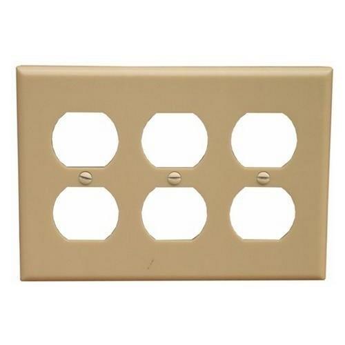 Morris 81765 Lexan Wall Plates Midsize 3 Gang Duplex Receptacle Ivory