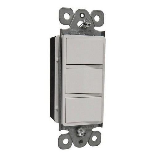 Morris 81971 Commercial Grade Decorative Triple Rocker Switch White 15A-120/277V