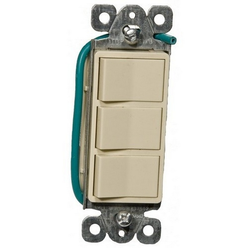 Morris 81970 Commercial Grade Decorative Triple Rocker Switch Ivory 15A-120/277V