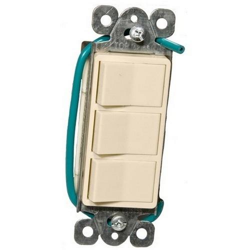 Morris 81973 Commercial Grade Decorative Triple Rocker Switch Almond 15A-120/277V