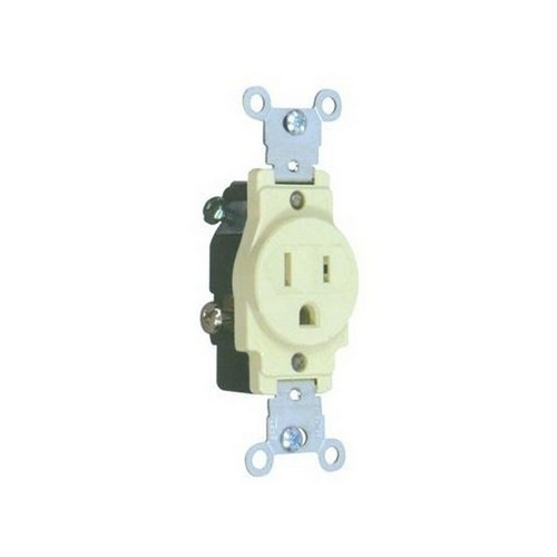 Morris 82135 Commerical Grade Single Receptacle Ivory 15A-125V
