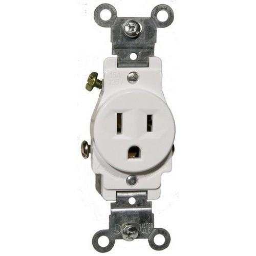 Morris 82136 Commerical Grade Single Receptacle White 15A-125V
