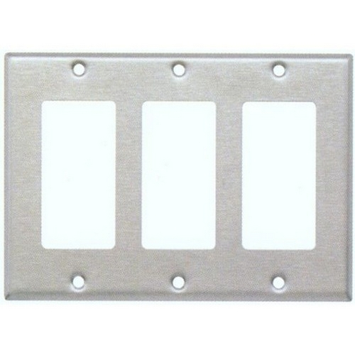 Morris 83130 430 Stainless Steel Wall Plates 3 Gang Decorative/GFCI