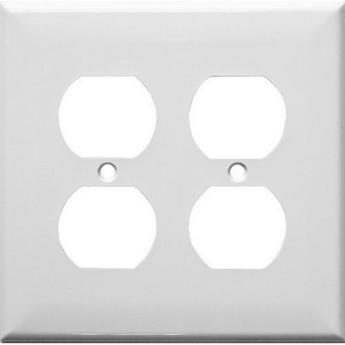 Morris 83222 Painted Steel Wall Plates 2 Gang Duplex Receptacle White
