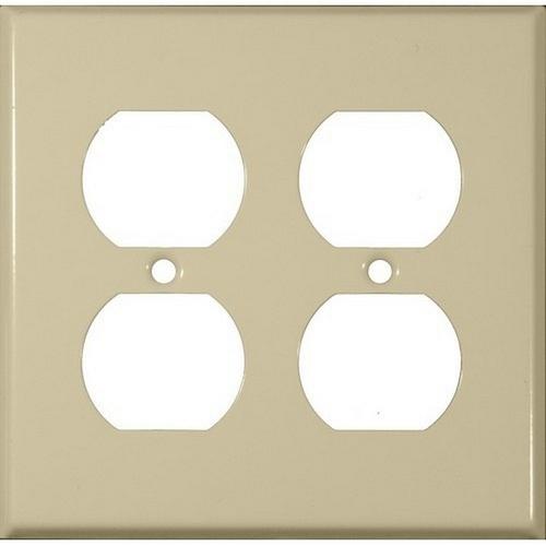 Morris 83223 Painted Steel Wall Plates 2 Gang Duplex Receptacle Ivory