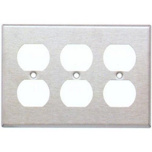 Morris 83230 430 Stainless Steel Wall Plates 3 Gang Duplex Receptacle
