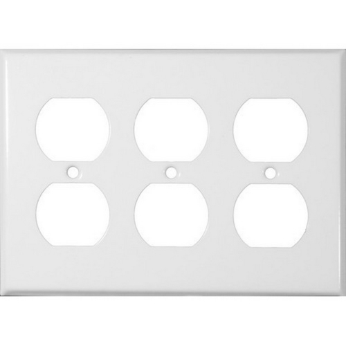 Morris 83232 Painted Steel Wall Plates 3 Gang Duplex Receptacle White