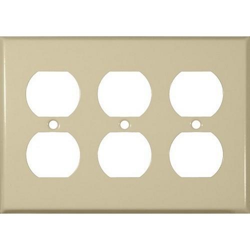 Morris 83233 Painted Steel Wall Plates 3 Gang Duplex Receptacle Ivory