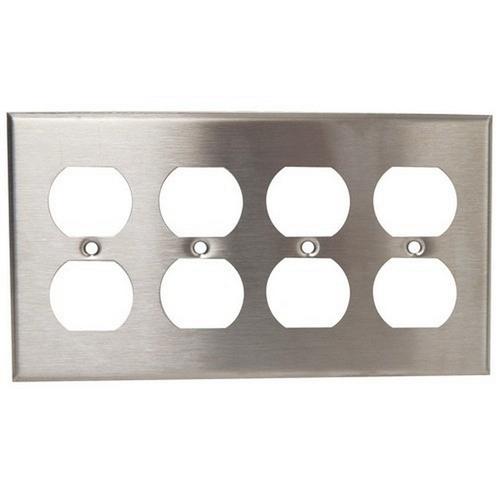 Morris 83240 430 Stainless Steel Wall Plates 4 Gang Duplex Receptacle