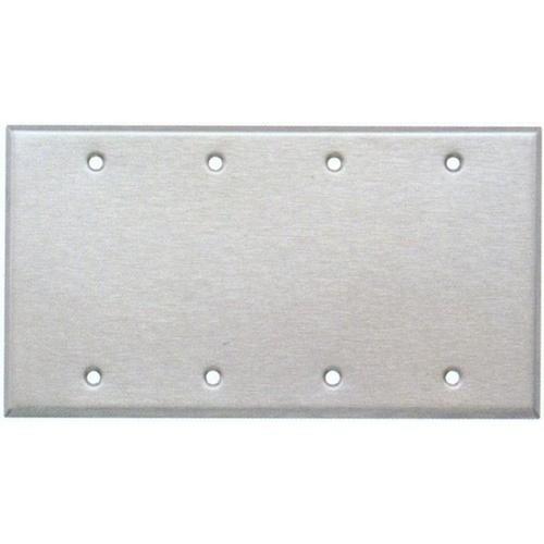 Morris 83340 430 Stainless Steel Wall Plates 4 Gang Blank