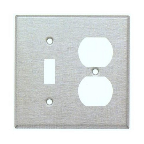 Morris 83420 430 Stainless Steel Wall Plates 2 Gang 1 Duplex 1 Toggle