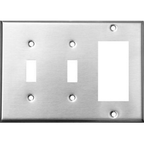 Morris 83580 430 Stainless Steel Wall Plates 3 Gang 2 Toggle 1 GFCI