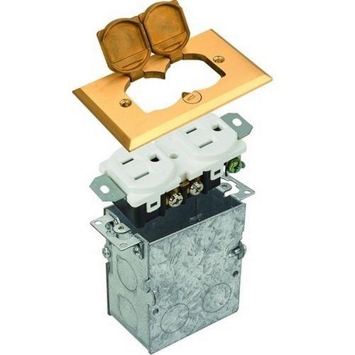 Morris 84000 Residential Floor Boxes Hinged Lid Brass