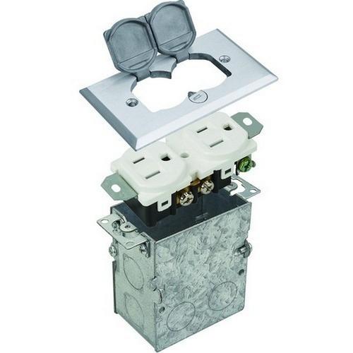 Morris 84001 Residential Floor Boxes Hinged Lid Nickel Plated Brass