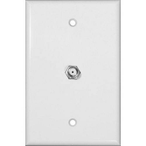Morris 87511 Midsize Single F Connector Wallplate White