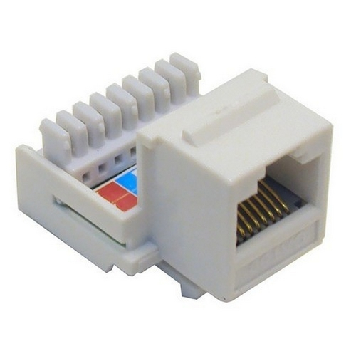 Morris 88016 Cat5E (RJ45) Unshielded Keystone Jacks-Rear Entry White