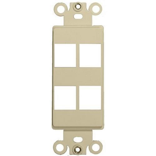 Morris 88108 Decorative DataComm Frame For Keystone Jacks and Modular Inserts Four Ports Ivory