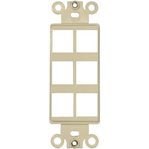 Morris 88110 Decorative DataComm Frame For Keystone Jacks & Modular Inserts Six Ports Ivory