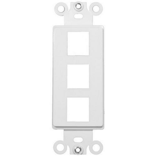 Morris 88116 Decorative DataComm Frame For Keystone Jacks and Modular Inserts Three Ports White