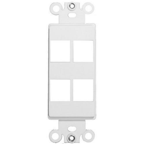 Morris 88118 Decorative DataComm Frame For Keystone Jacks and Modular Inserts Four Ports White