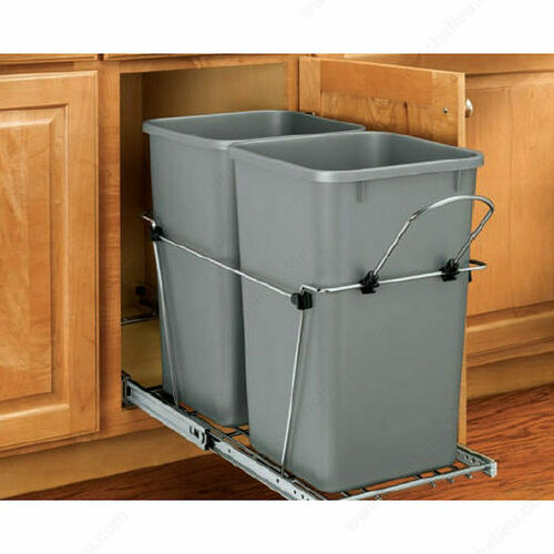 Richelieu RV18KD17CS Double Pull-Out Waste Containers - Metallic Silver