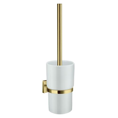 Smedbo RV333P White Porcelain Toilet Brush, Polished Brass