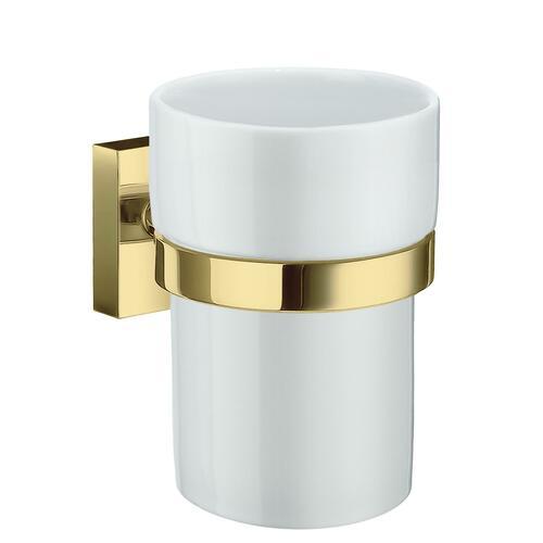 Smedbo RV343P White Porcelain Tumbler, Polished Brass