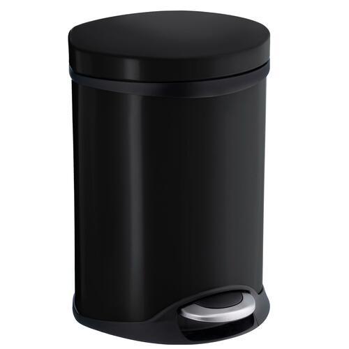 Smedbo FK665 1-1/2 Gallon Step Trash Bin, Stainless Steel/Black