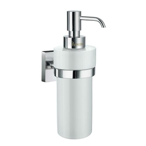Smedbo RK369P Wall Mounted White Porcelain Soap Dispenser, Polished Chrome