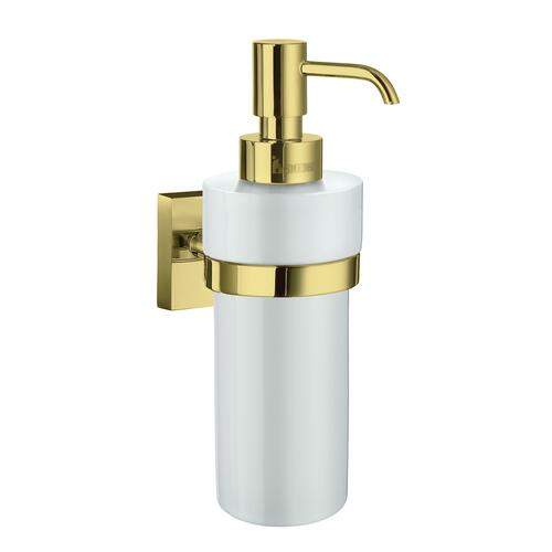 Smedbo RV369P Wall Mounted Soap Dispenser, White Porcelain/Polished Brass