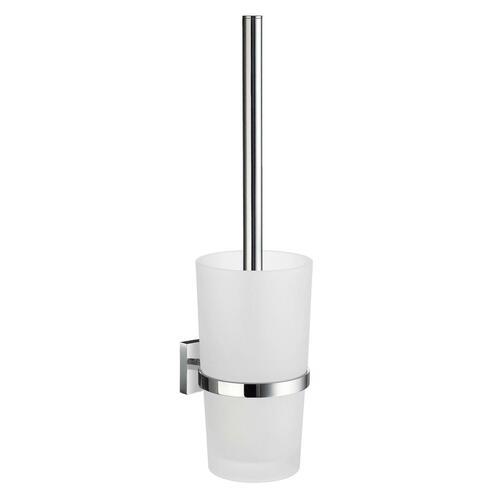 Smedbo RK333 Frostedd Glass Toilet Brush, Polished Chrome