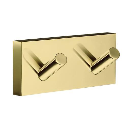Smedbo RV356 Double Towel Hook, Polished Brass