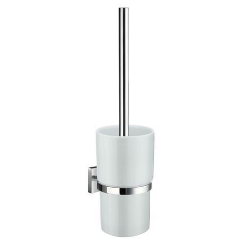 Smedbo RK333P White Porcelain Toilet Brush, Polished Chrome
