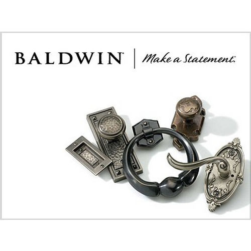 Baldwin SCCHEXCURLTAR150 Single Cylinder Chesapeake Handleset Left Hand Curve Lever and Traditional Arch Rose with 6AL Latch and Dual Strike Satin ...