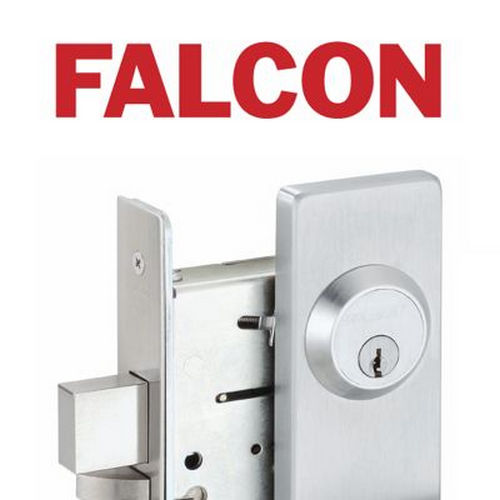 Falcon Lock 510L19 Dane Lever Exit Device Trim with Key Locks or Unlocks Flat Black Finish