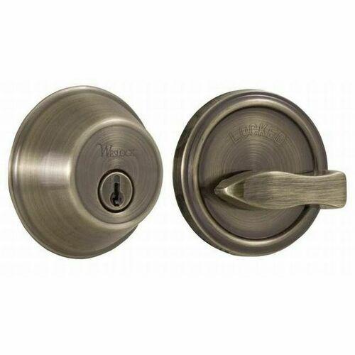Weslock 00371-A-ASL23 300 Series Single Cylinder Deadbolt with Adjustable Latch and Deadbolt Strikes Antique Brass Finish