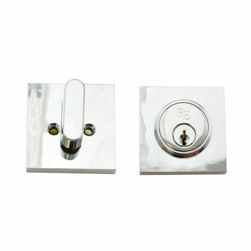 Weslock 00771-6-6FR22 Square Single Cylinder Deadbolt with Adjustable Latch and Round Corner Full Lip Strike Bright Chrome Finish