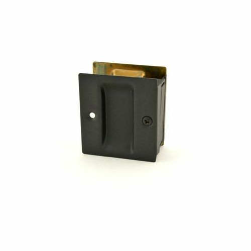 Trimco 1064622 Passage Pocket Door Lock Square Cutout Satin Black Finish