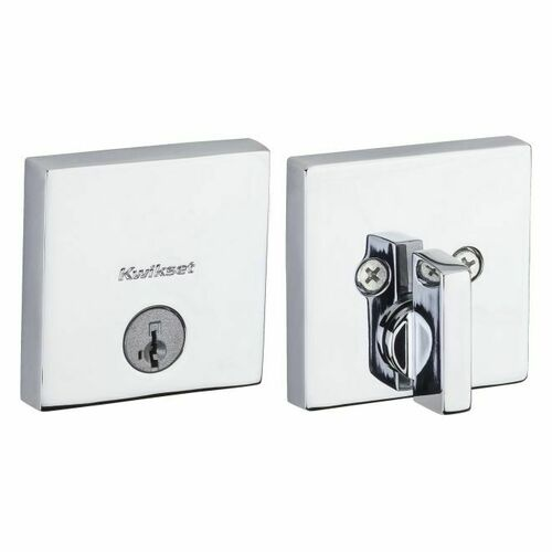 Kwikset 258SQT-26S Downtown Square Contemporary Low Profile Single Cylinder SmartKey Deadbolt with 6AL Latch and RCS Strike KA3 Bright Chrome Finish