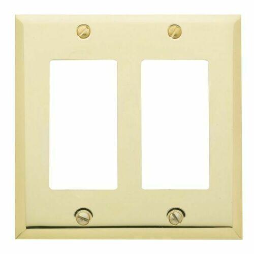 Baldwin 4741030 Double Rocker Beveled Switch Plate Bright Brass Finish