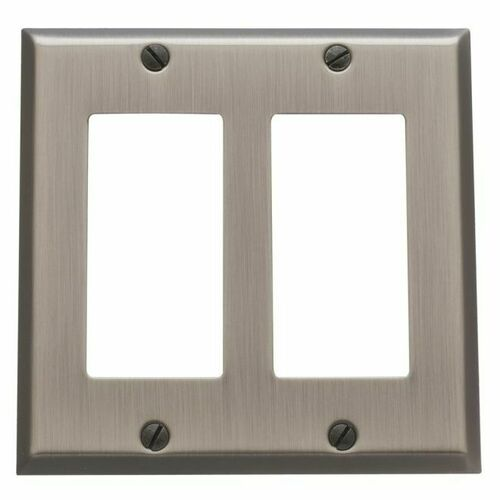 Baldwin 4741151 Double Rocker Beveled Switch Plate Antique Nickel Finish
