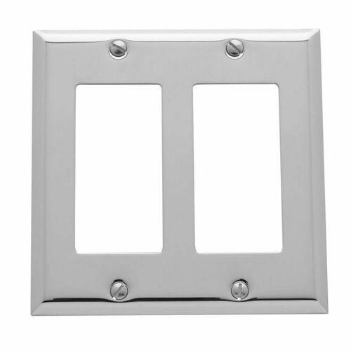 Baldwin 4741260 Double Rocker Beveled Switch Plate Bright Chrome Finish
