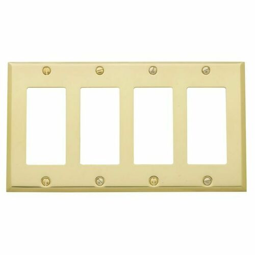 Baldwin 4742030 Quadruple Rocker Beveled Switch Plate Bright Brass Finish